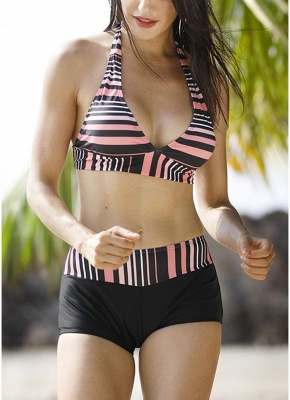 Print Triangle Halter Sexy Open Back Push Up Boyshorts Hot Tankini_4