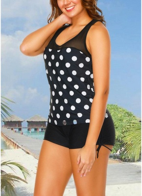Sport Tank Top Boxer Polka Polka dots Print Racer Back Wireless Push Up Tank top Set_3