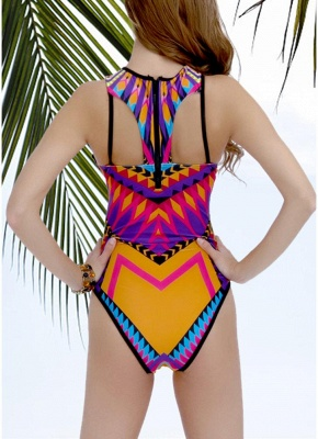 Geometric Print Cutout Sexy Open Back Strappy Hollow Out one Piece Swimsuit_4