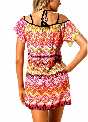 Modern Women Beach Dresses Cover Ups Geometry Print Halter Tie Mini Bikini Beachwear_4