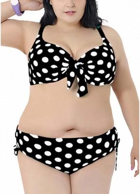 Plus Size Polka Dot Knot Bikini Set_4