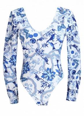 Hot Women Retro Porcelain Floral One Piece Bathing Suit UK_5