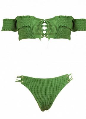 Hot Women Smocked Off the Shoulder Lace Up Bikini Set UK_9