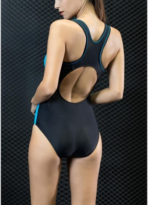 Sport Color Block Splicing Push Up Racer Sexy Open Back One Piece Swimsuit_4