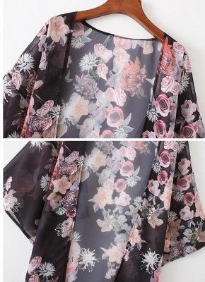 Fashion Chiffon Loose Cardigan Front Floral Retro Women's Kimono_6