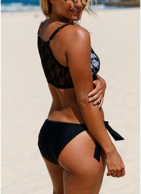 Lace Mesh Solid Self-tie Bottom Bikini Set_5