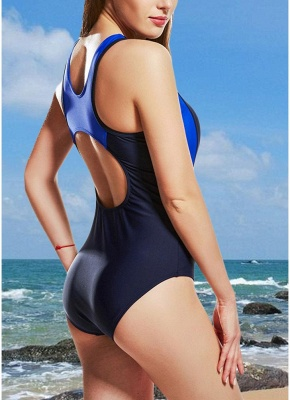 Women One-Piece Swimsuits UK Color Splice Sleeveless Padding Wireless Bathing Suit UK Beach Wear_5