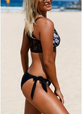 Lace Mesh Solid Self-tie Bottom Bikini Set_4