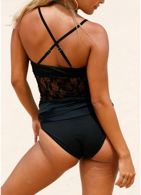 Womens One-piece Swimsuit Lace High Neck Halter Padded Bathing Suit Swimsuit_4