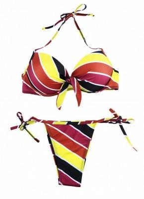 Contrast Stripe Underwire Padded Cup Tie Bikini Set UK Bathing Suit UK_20