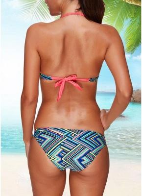 Hot Women Bikini Set UK Halter Striped Geometric Print Bodycon Underwire 3/4 Cups Bathing Suit UK Bathing Suit UKs_4