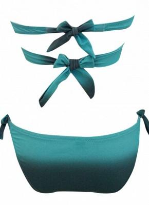 Gradient Cross Halter Tie Strap Sexy Open Back Push Up Bandage Bikini Set_4