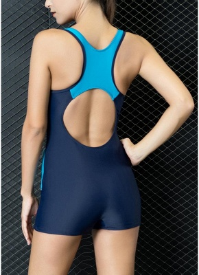 Modern Women One-Piece Swimwear Color Splice Cut Out Padding Bathing Suit Swimsuits_5