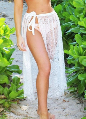 Women Beach Sarong Sheer Crochet Lace Chiffon Tie Split Hollow Out Hot Bikini UK Cover Up Skirt