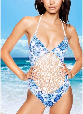 Womens Floral One Piece Halter Swimsuit Front Lace Splice Swimwear Bathing Suit White_1