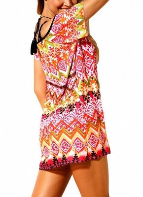 Modern Women Beach Dresses Cover Ups Geometry Print Halter Tie Mini Bikini Beachwear_5