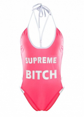 Plunge V Neck High Cut Letters Print Sexy Open Back One Piece Swimsuit_5