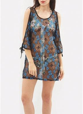 Womens Sheer Floral Lace Beach Cover Up Kaftan Bathing Suit Swimwear Bikini Dress_3