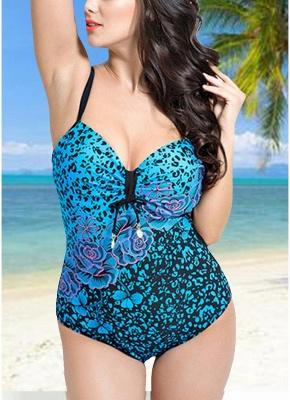 Modern Women Large Size One-Piece Swimwear Push Up Padding Wireless Swimsuit_2