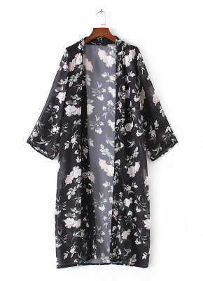 Chiffon Floral Slit Hem Sexy Open Front Long Sleeve Women's Long Kimono_5