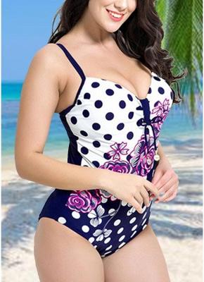 Modern Women Plus Size Floral Dot Swimsuit Cut Out Backless Plunge Strap Monokini_5