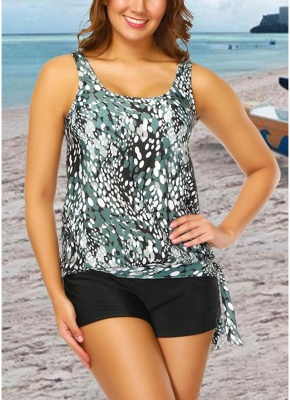 Modern Women Plus Size Push Up Tankini Swimsuit Padded Swimwear Printed Bathing Suit_3