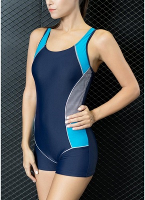 Modern Women One-Piece Swimwear Color Splice Cut Out Padding Bathing Suit Swimsuits_6