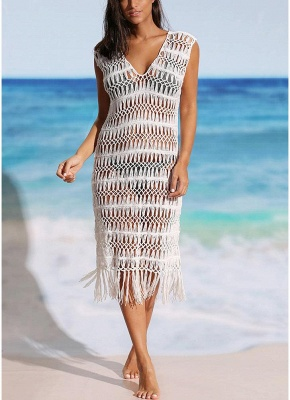 Women Hollow Bikini UK Cover Up Dress Crochet Fringes Tassels Bathing Suit UK Beachwear_1