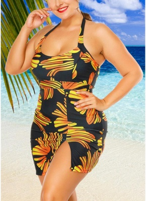 Modern Women Plus Size Swimwear Dress Halter Swimsuit Backless Push Up Bathing Suit_5