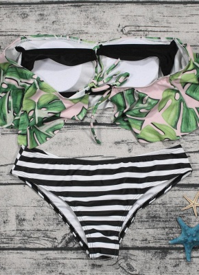 Off the Shoulder Ruffles Striped Leaf Print Bathing Bikini Set_5