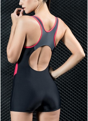 Womens Sports One Piece Swimsuit Bathing Suit Shorts Splice Racing Training Swimsuit_3