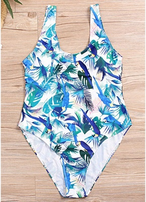 Plus Size Leaf Print High Leg Padded Cup One Piece Swimsuit_6