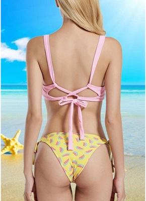 Womens Strappy Bikini Set Sexy Open Back Print Summer Beach Swimsuit Bathing Suit_3