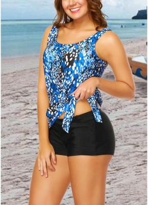 Modern Women Plus Size Push Up Tankini Swimsuit Padded Swimwear Printed Bathing Suit_8