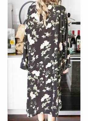 Chiffon Floral Slit Hem Sexy Open Front Long Sleeve Women's Long Kimono_4