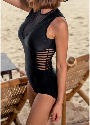 New Hot Womens One-piece Swimsuit Mesh V Neck Hollow Out Solid Padded Beach Bathing Suit Swimsuit Black_4