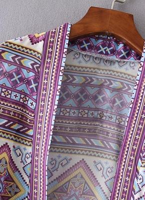 Bohemian Fashion Chiffon Geometric Print Loose Women's Kimono_6