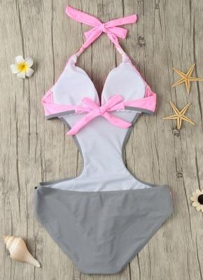 Modern Women's Contrast Color Block Halter Backless One Piece Swimsuit_7
