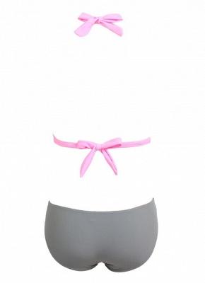 Modern Women's Contrast Color Block Halter Backless One Piece Swimsuit_5