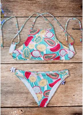 Women Fruit Printed Bikini Set UK Halter Bathing Suit UK Padded Tank Top Bathing Suit UK fr_1