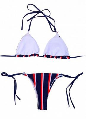 Halter Push Up Striped Tie Waist Padded Womens Bikini Set_5
