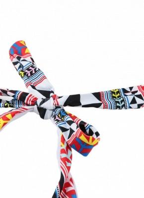Push Up Padded Geometry Print Cross Halter Bikini Set UK_5