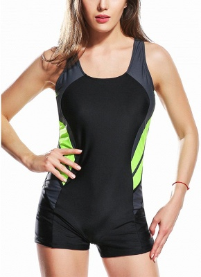 Panel Splicing Racing Sports One Piece Bathing Suit UK_2