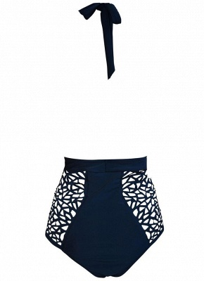 Plunge Hollow Out Halter Neck Backless Monokini_6