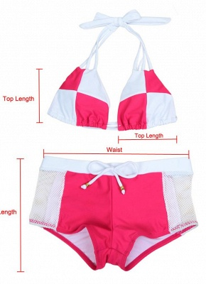 Hot Color Block Halter Padded Tank Top Rose Bikini Set UK_10