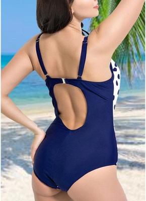 Modern Women Plus Size Floral Dot Swimsuit Cut Out Backless Plunge Strap Monokini_4