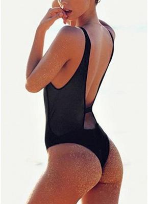Sexy Open Back Sleeveless Zipper Padding Wireless One-Piece Bathing Suit_4