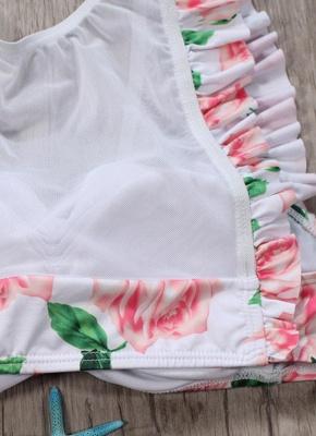 Hot Womens Tank top Swimsuit Printed Mesh Ruffled Beach Bathing Suit Bikini Set Swimsuit Pink?_5