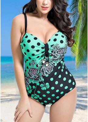 Modern Women Plus Size Floral Dot Swimsuit Cut Out Backless Plunge Strap Monokini_2