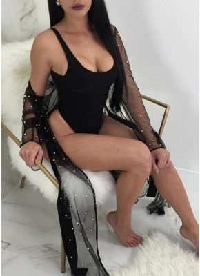 Transparent Mesh Faux Pearl Beading Sexy Open Front Long Sleeve Split Bikini UK Cover Up_3